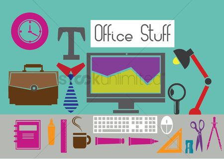 Highlighters : Illustrations of office items