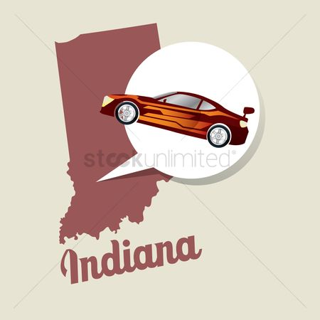 Indiana : Indiana map with car race icon