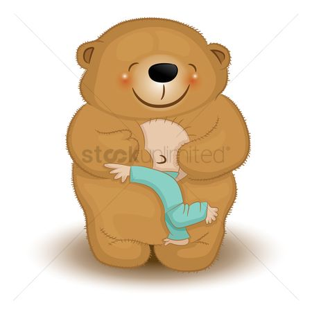 Teddy bear : Infant hugging a teddy bear