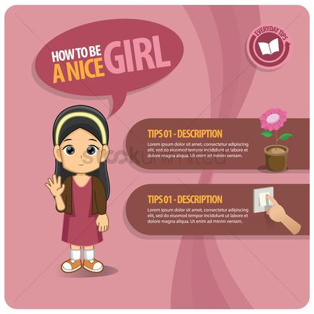 Flower pot : Infographic of a nice girl