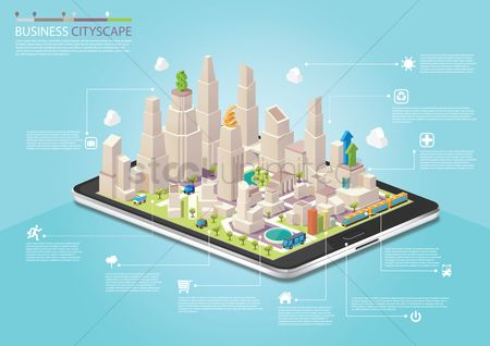 Infographic : Infographic of business cityscape on a tablet computer