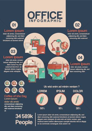 Flower pot : Infographic of office