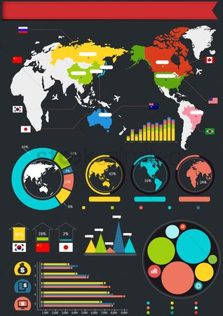 Currencies : Infographic with world map