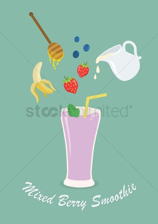 Bananas : Ingredients used to make mixed berry smoothie