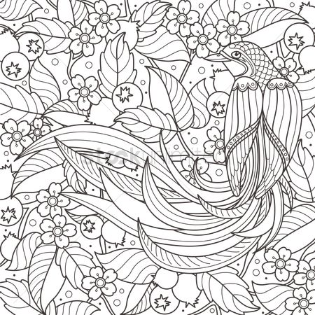 Floral : Intricate bird design