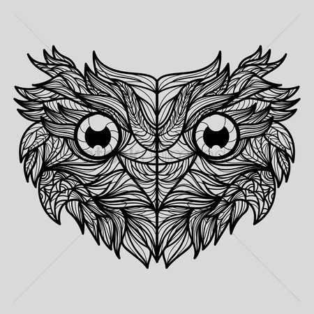 Hand drawn : Intricate owl design