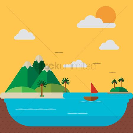 Islands : Island with mountains background
