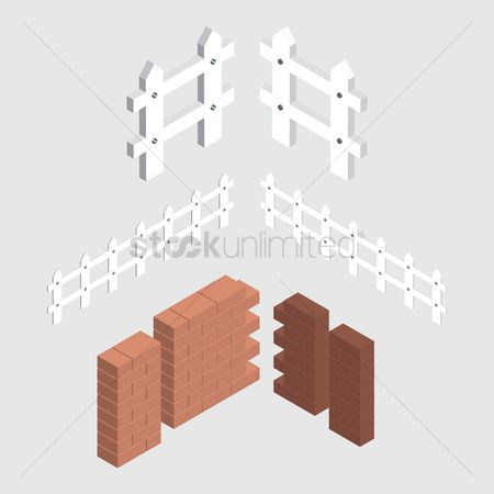 Barrier : Isometric brick wall and fence