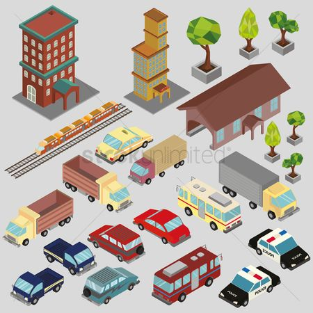 Taxis : Isometric buildings and vehicles