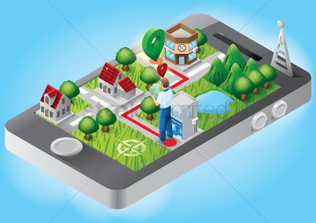 Map pin : Isometric buildings on smartphone