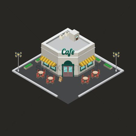 Awning : Isometric cafe building