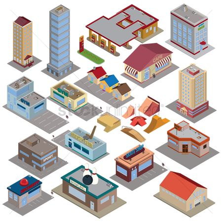 Buildings : Isometric city icons