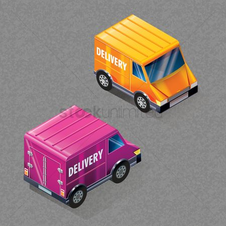 Three dimensional : Isometric delivery van