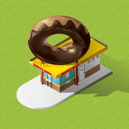 Shops : Isometric doughnut shop