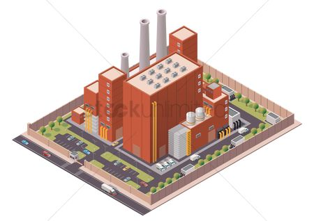 Lorries : Isometric factory building