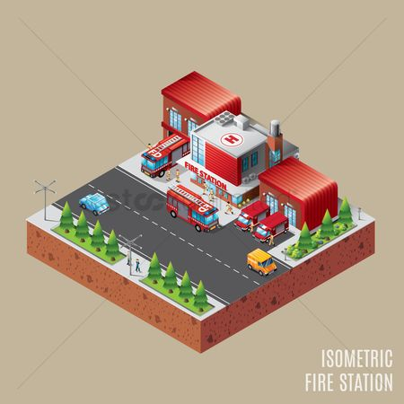 Pad : Isometric fire station