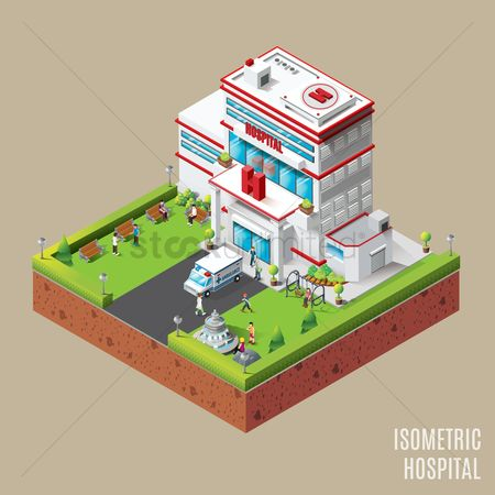 Pad : Isometric hospital building