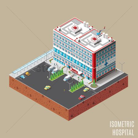 Taxis : Isometric hospital building