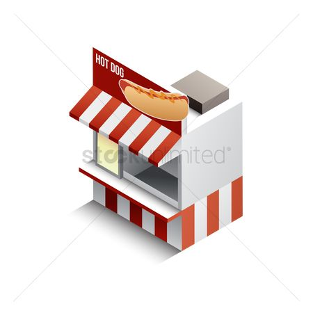 Junk food : Isometric hot dog store