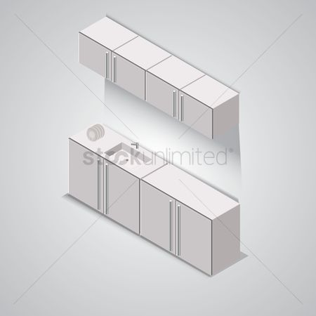 Faucets : Isometric kitchen cabinet