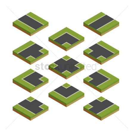 Grass : Isometric map road plan