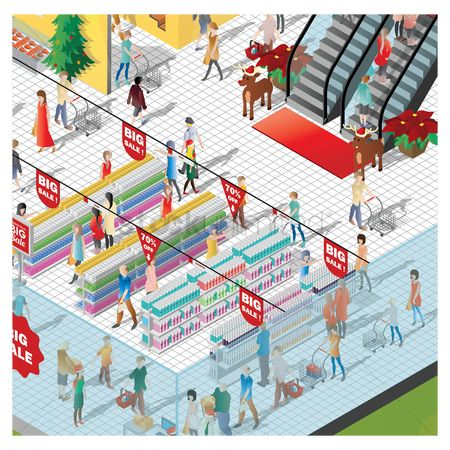 Shopping cart : Isometric of a shopping mall