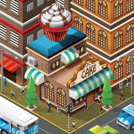 Confections : Isometric of bakery shop building