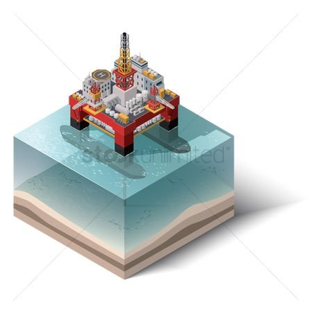 Buildings : Isometric of oil platform
