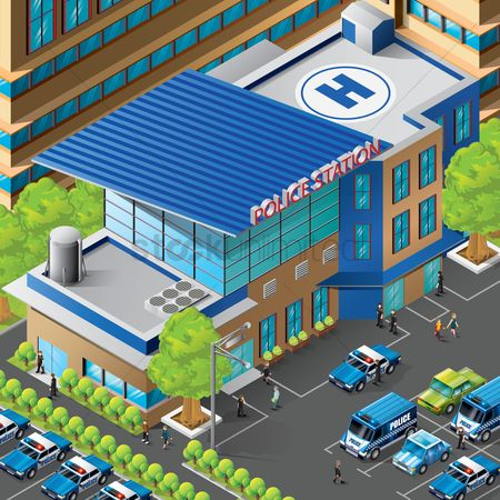 Transport : Isometric of police station building