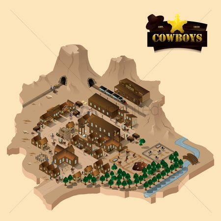Trolley : Isometric of wild west town
