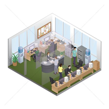 Workers : Isometric office layout