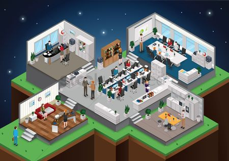 Work : Isometric office with people