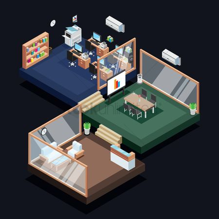 Vectors : Isometric office