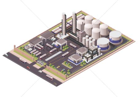 Machineries : Isometric oil refinery