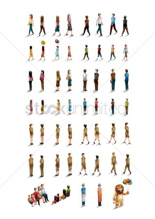 Backview : Isometric people collection