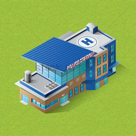 Helicopter : Isometric police station