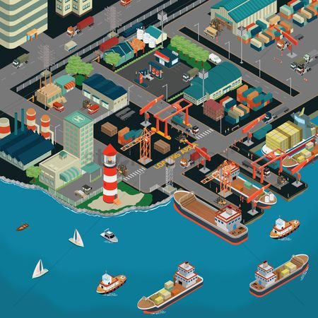 Ocean : Isometric seaport