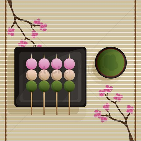 Japanese cuisines : Japanese dango dumplings