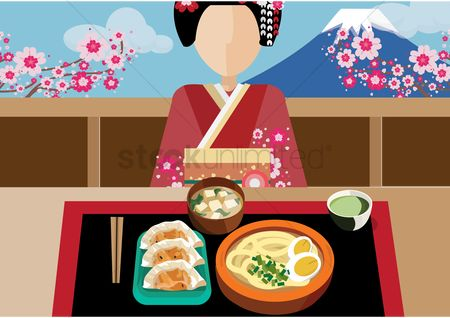 Dishes : Japanese woman with japanese cuisine