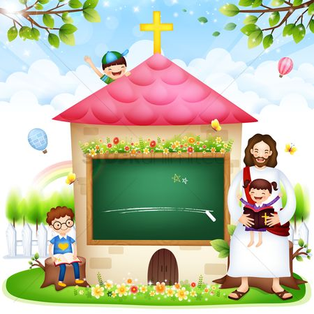 Blackboard : Jesus at sunday school