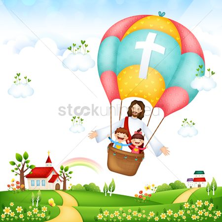 Rainbows : Jesus on a hot air balloon ride with children