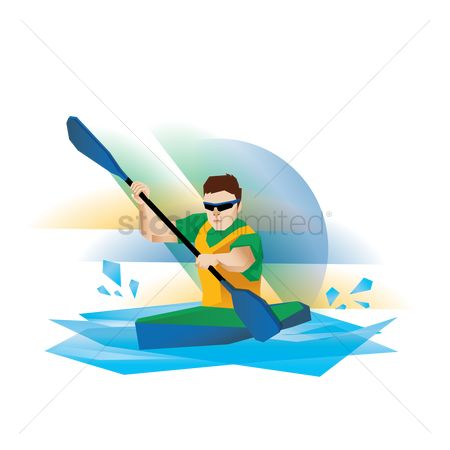 Paddle : Kayak participant in action
