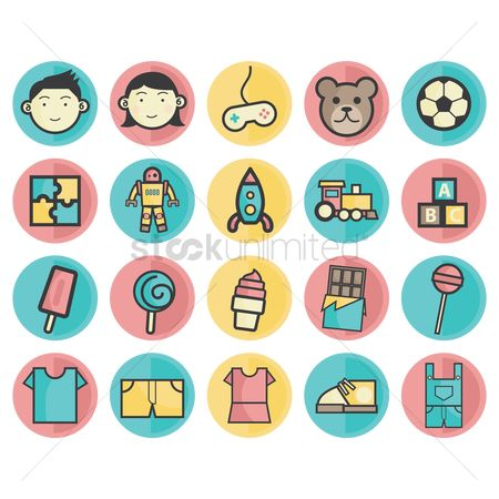 Boys : Kids and toys icons