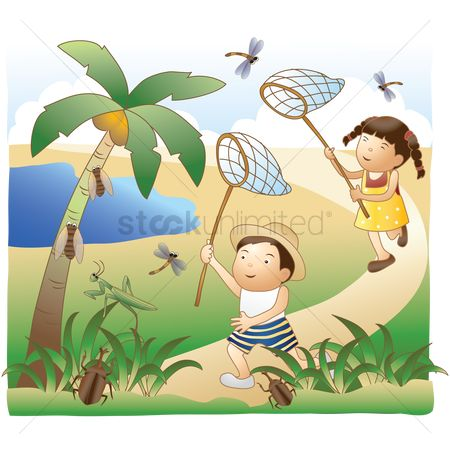 Kids : Kids catching dragonfly with net