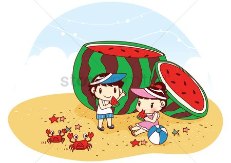 Crabs : Kids eating giant watermelon on beach