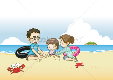 Character : Kids playing with sand at beach