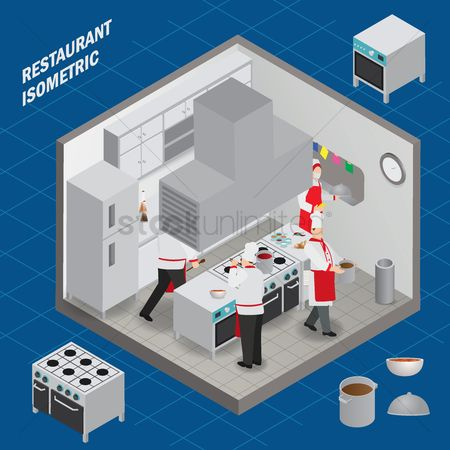 Stove : Kitchen restaurant isometric