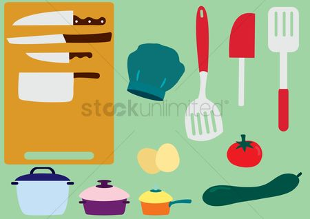 Appliance : Kitchen utensils and vegetables