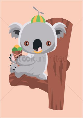 Eat : Koala bear eating ice cream