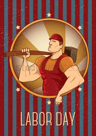 Workers : Labor day poster with worker holding hammer